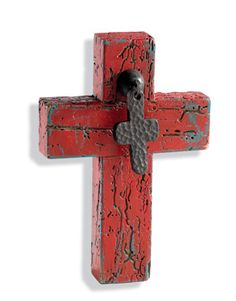 Old Red Cross - vintage barn wood from Mexico, weathered red paint and metal pull cross. Wooden Crosses, Crosses Decor, Wall Crosses, Cross Art, Red Cross, Barn Wood Projects, Pallet Projects, Antler Lights, Old Rugged Cross