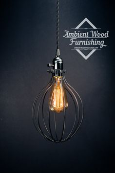 Balloon Cage Pendant Light Black switch knob socket by AmbientWood