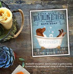 Toller Art Print/Gallery Wrap/Canvas -- Nova Scotia Duck Tolling Retriever dog bath soap by geministudio