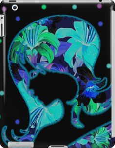 Tropical Floral Lady Silhouette | Design available for iPad Mini 2/1 Skin-iPad Retina 3/2 Skin-iPad Retina 3/2 Snap Case