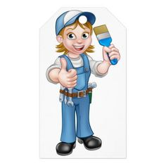 Cartoon Woman Painter Decorator Character Gift Tags - construction business diy customize personalize