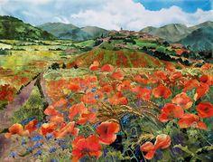 Meadows below Fogliano by Amanda Richardson.  Textile collage.  Watercolour inspiration