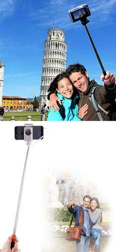 """Take great selfies and travel shots! This lightweight device holds any D-SLR camera, digital camera, action camera, video camera, GoPro, iPhone, Galaxy or other Android smartphone, so you can shoot amazing self-timer shots. It's fully waterproof, with a quick-release camera mount, rubberized grip, wrist strap, carry bag and built-in mirror to help you compose the perfect shot. Extends up to 39""""."""