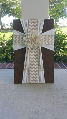 Check out this item in my Etsy shop https://www.etsy.com/listing/507038991/chevron-burlap-cross-on-wooden-plaque