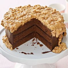 Chocolate-Praline Cake | This chocolate cake is off-the-charts rich. If you like pralines, you'll love this candy-like frosting.