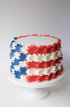 Buttercream Stars and Stripes 4th of July Cake