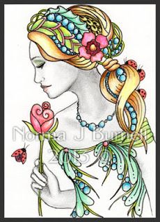 Fairy Tangles: June's Rose - Fairy-Tangle ACEO.