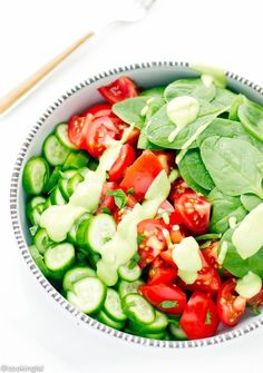 Tomato Cucumber And Spinach Salad with Avocado Parsley Dressing