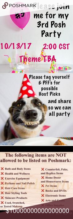 I'm so excited to be hosting party #3 Please join me Friday 10/13/17 @2:00 CST for my 3rd Poshmark party. Please tag your closet if you would like to be considered for a possible host pick. Host picks will only be given to Posh compliant closets. I am beyond excited and can't wait💞Please do not tag me or share items to my closet. Thank you so much Other