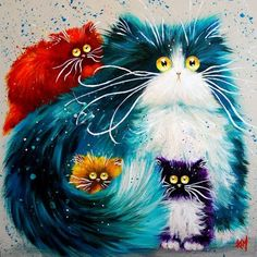 Kim Haskins Acrylic - her collection of cat paintings in this stye are deliciously cute and humorous. I love the big round eyes they all have!