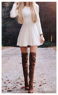 Cute Skirt Outfits, Casual Dress Outfits, Cute Fall Outfits, Classy Outfits, Pretty Outfits, Stylish Outfits, Cute Dresses, Tumblr Fall Outfits, Sweater Dress Outfit
