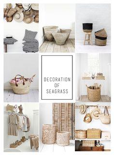Moodboardtrawa morska, handmade, kosze  plecione, plecionki z trawy morskiej, plecione kapelusze jako dekoracja, plecione naturalne torby jako dekoracja wnętrza, naturalnie wyplatane kosze, plecionki z trawy, styl skandynawski. ilobahie