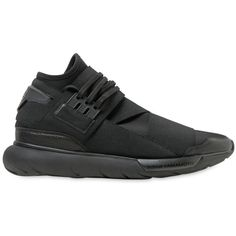 Y-3 Qasa Elastic High Sneakers (43335 RSD) ❤ liked on Polyvore featuring men's fashion, men's shoes, men's sneakers, shoes, black, mens black shoes and mens black sneakers
