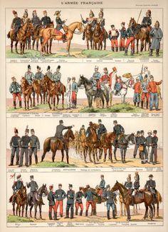 Armée Français, 1897 Print Antique, lithographie Vintage, Costume Français Print, Costume militaire, artillerie Français, garde Français, cavalerie Français