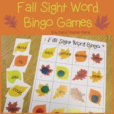 Boy Mama Teacher Mama: Fall Sight Word Bingo Games