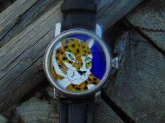 """Cat"" enamel cloisonne dial watch. Leszek Kralka."