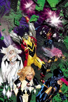 Uncanny X-Men - Emma Frost, Colossus, Dazzler, Nightcrawler, Pixie & Cyclops by Michael Golden