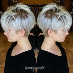 Wanna see the chosen images of Trending Pixie Haircut Ideas? We have gathered latest pixie style ideas for women who is not sure to go for a pixie! Short Hair Cuts, Short Hair Styles, Pixie Cuts, Short Pixie, Asymmetrical Pixie, Pixie Bob, Hair Dos, My Hair, Haircut And Color