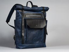 Backpacks – Blue/black leather rucksack. Roll top rucksack – a unique product by InnesBags on DaWanda