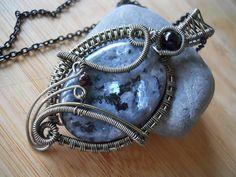 Black Labradorite Larvikite Pendant Wire Wrapped by OurFrontYard, $33.77