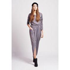 Grey Maxi Dress With Pocket LAVELIQ
