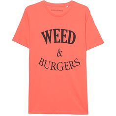 ADDMYBERRY Weed & Burgers Tee Coral // Organic cotton shirt with print ($54) ❤ liked on Polyvore featuring men's fashion, men's clothing, men's shirts, men's t-shirts, mens coral dress shirt, mens crew neck t shirts, mens print shirts, organic cotton mens shirts and mens slim fit shirts
