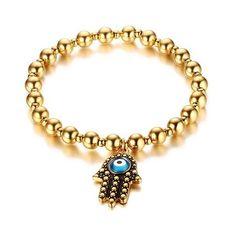 Stylish Beading Eye Hamsa Hand Bracelet ($6.01) ❤ liked on Polyvore featuring jewelry, bracelets, hamsa hand jewelry, beaded bangles, beaded jewelry, hamsa jewelry and beading jewelry