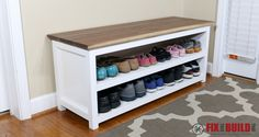 DIY Entryway Shoe Storage Bench You can build this DIY Entryway Bench with Shoe Storage and organize your house. Detailed plans and a full video walkthrough are available for this project. Shoe Storage Bench Entryway, Entryway Bench Storage, Diy Bench, Outdoor Storage, Shoe Storage At Front Door, Hallway Bench, Storage Benches, Basket Storage, Bench Seat