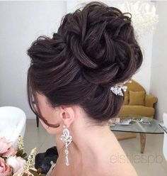 60 Long Bridesmaid Hair & Bride Hairstyles for the Wedding - Hairstyles For All Bridal Hair Updo, Wedding Hairstyles For Long Hair, Bridal Hair And Makeup, Bride Hairstyles, Hair Makeup, Hairstyle Ideas, Easy Hairstyles, Hairstyle Wedding, Bridesmaid Hair