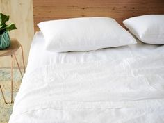 Timeless optic white linen for a fresh classic look. Shop our beautiful range of pure French linen sheet sets available in King, Queen, Double, King Single and Single sizes and enjoy the widest range of linen colours online. Linen Sheets, Sheet Sets, Furniture Decor, Bed Pillows, Pillow Cases, Pure Products, Luxury, Home, Linen Bedding
