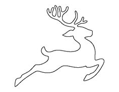 Flying reindeer pattern. Use the printable outline for crafts, creating stencils, scrapbooking, and more. Free PDF template to download and print at http://patternuniverse.com/download/flying-reindeer-pattern/