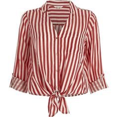 River Island Red stripe tie front shirt (€42) ❤ liked on Polyvore featuring tops, blouses, shirts, t-shirts, red, striped shirt, snap shirt, red stripe shirt, red blouse and tie front blouse