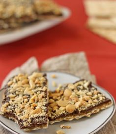 Toffee Matzah//  5 matzos 1 stick (4 oz) butter 1 cup packed brown sugar 2 cups chocolate chips 1/2 cup chopped, salted nuts