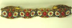Czech Red Glass Cabochon and Enamel Floral Bracelet