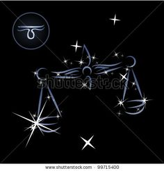 Libra/Lovely zodiac signs formed by stars on black background - stock vector