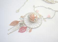 Bola de grossesse dreamcatcher plume feuilles camaïeu de rose argenté