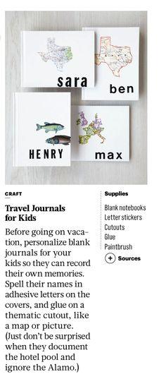 DIY kids' travel journals