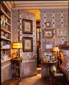 Fifth Avenue styled bedroom featuring a silk covered wall hiding a secret jib door leading to a walk-in closet #jibdoor #interiordesign - More wonders at www.francescocatalano.it