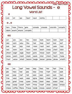 A Handy Guide to Long Vowel Sounds (  FREE Download)