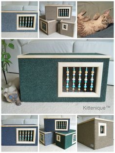 Deluxe cat furniture. https://www.etsy.com/listing/224549151/green-beaded-cat-house-wooden-cat?ref=listing-shop-header-3