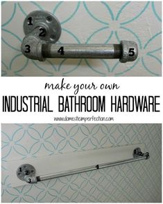 Make your own toilet paper holder, towel bar, and shower curtain rod (includes detailed shopping list) interior towel Industrial Bathroom Hardware Industrial Bathroom, Industrial Pipe, Industrial Style, Industrial Hardware, Black Toilet Paper, Shower Curtain Rods, Shower Curtains, Bathroom Curtains, Deco Originale