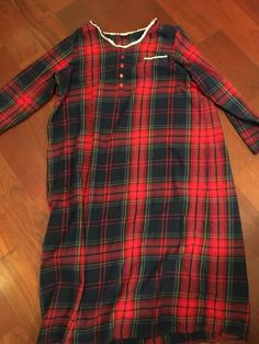 Women s Laura Scott Flannel Night Gown Red Plaid  Lace Long Sz XL  fashion   clothing  shoes  accessories  womensclothing  intimatessleep (ebay link) fa1e5395e