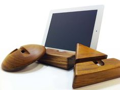 Wood iPad stands by HAUSGOODS.  www.hausgoods.com