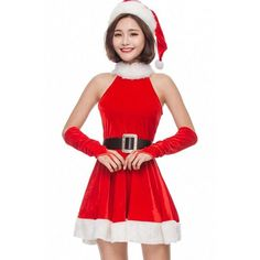 Red Velvet Faux Fur High Neck Dress Sexy Christmas Costume (130 CAD) ❤ liked on Polyvore featuring costumes, christmas costumes, funny costumes, funny womens halloween costumes, womens christmas costumes and womens santa costume