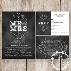 INSTANT DOWNLOAD with EDITABLE TEXT /// Chalkboard Wedding Invitation /// Mr and Mrs /// Printable Invitations RSVP Card and Information Card /// DIY Party /// BY DBN Graphics Wedding Reception Themes, Wedding Notes, Wedding Save The Dates, Our Wedding, Wedding Planning, Dream Wedding, Wedding Ideas, Chalkboard Wedding Invitations, Printable Invitations