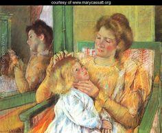 Mère peigner les cheveux, c.1901 de son enfant - Mary Cassatt - www.marycassatt.org