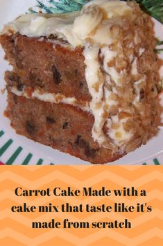 A rich and moist semi-homemade carrot cake recipe with a time-saving trick! It uses a boxed yellow cake mix plus it has Brown Sugar Cream Cheese Frosting. This easy carrot cake is so good, it is perfect for a crowd! Cake Mix Desserts, Just Desserts, Delicious Desserts, Cake Recipes, Spice Cake Mix Recipes, Vegan Desserts, Baking Recipes, Dessert Recipes, Cakes To Make