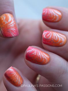 Sunset Gradient Nails with stamping - nail design | See more at http://www.nailsss.com/colorful-nail-designs/2/