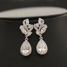 Wedding Earrings Crystal Bridal Jewelry Clear Cubic Zirconia