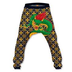 Gold Dragon Baggy Pant Gold Dragon, Soft Fabrics, Elastic Waist, Harem Pants, Unisex, Retro, Sweaters, Fashion, Moda